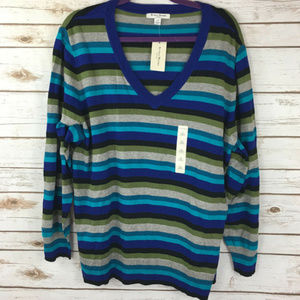 Studio Works Woman 2X Blue V-Neck Sweater NEW